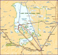 Lake Eyre flights Map from Marree