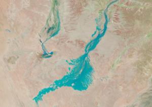 Birdsville is near lower leg of flood water approaching Lake Eyre