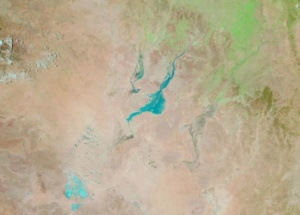 Flood Water approaching Birdsville (centre) with Lake Eyre bottom left