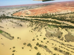 flood water heading for lake eyre with tours and flights March 18, 2019